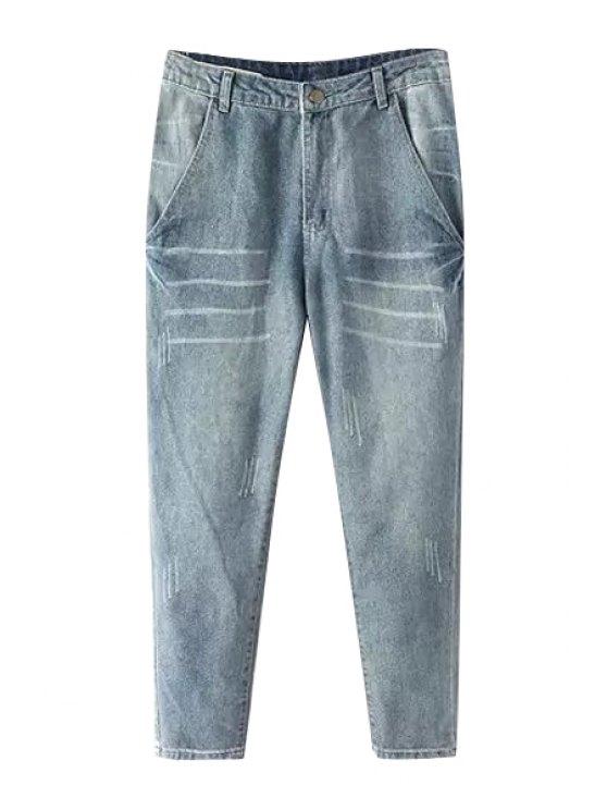 trendy Narrow Feet Bleach Wash Jeans - LIGHT BLUE M