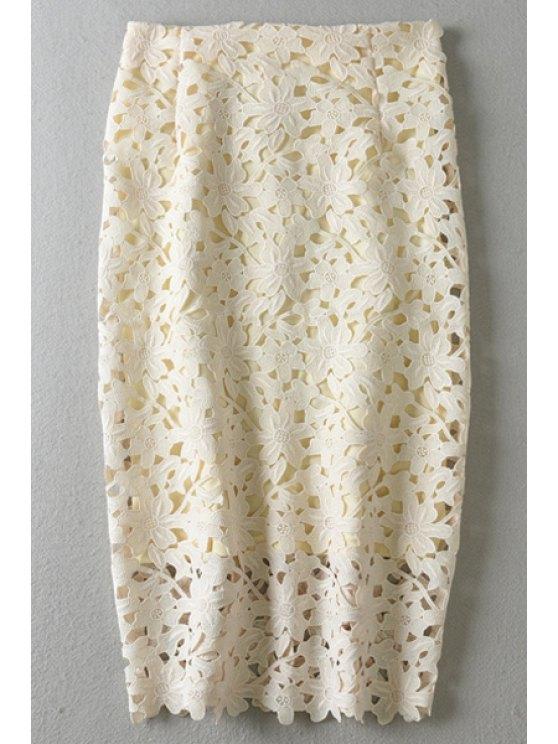 ladies High-Waisted Crochet Hollow Pancil Skirt - OFF-WHITE S
