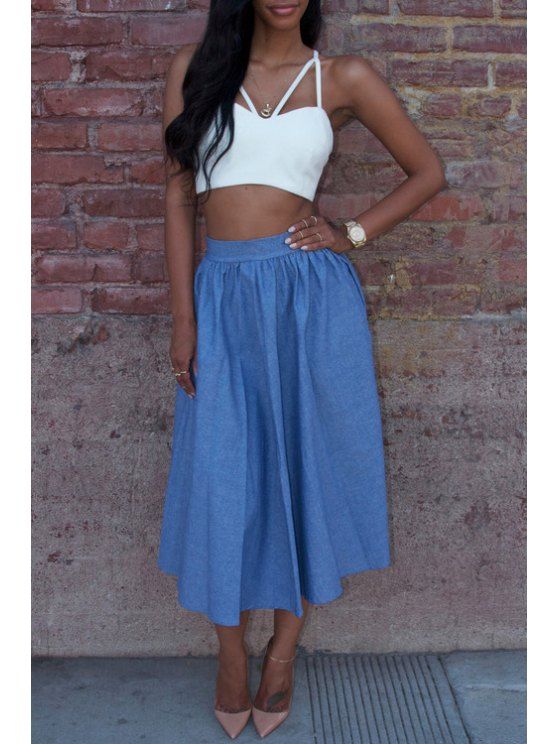 new Spaghetti Strap Cross Backless Tube Top + Solid Color Skirt - BLUE AND WHITE S