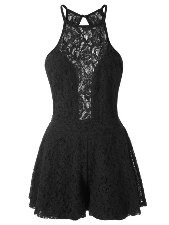 new Black Lace Sleeveless Backless Playsuit - BLACK S