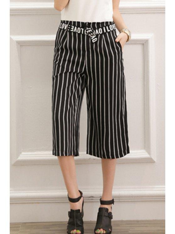 women's Stripe Letter Belt Wide Leg Pants - WHITE AND BLACK S