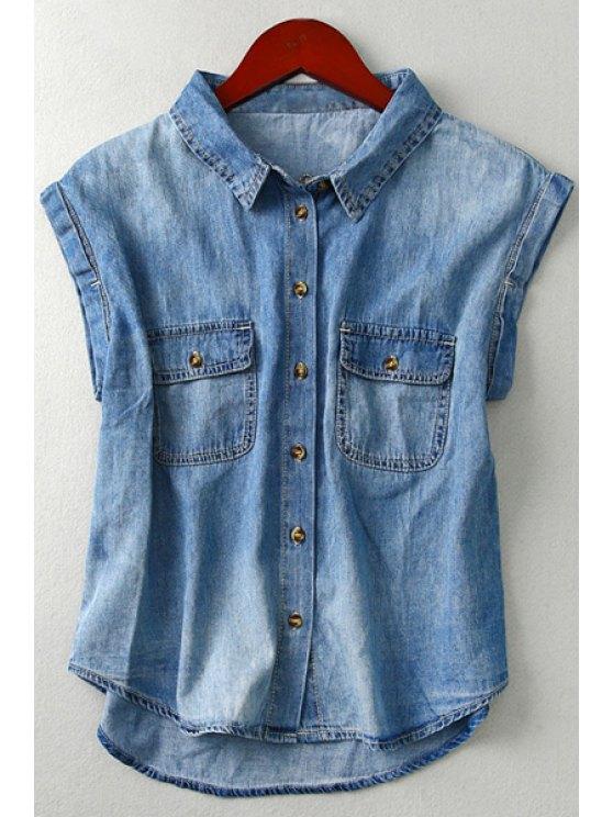 shop Button Down Pocket Chambray Shirt - BLUE M