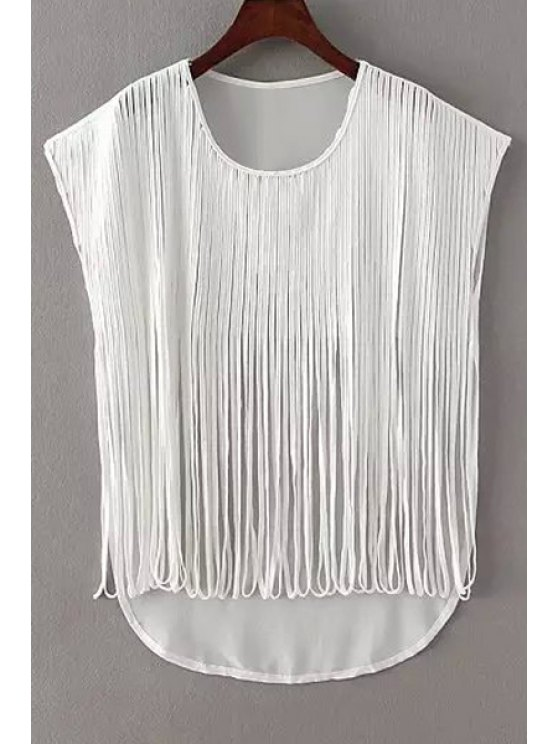 sale Pure Color Tassels Sleeveless Blouse - WHITE ONE SIZE(FIT SIZE XS TO M)