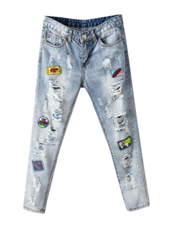 new Broken Hole Embroidery Narrow Feet Jeans - AZURE 26