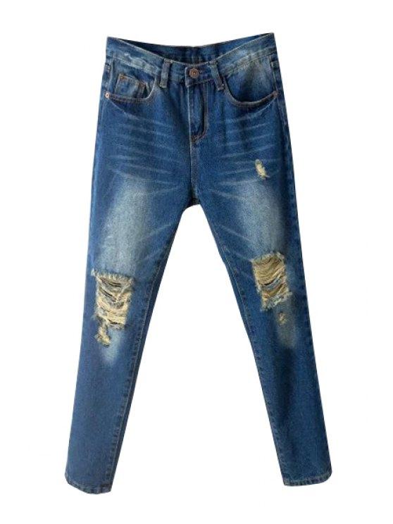fancy Skinny Broken Hole Jeans - DEEP BLUE 26