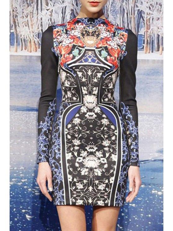 online Floral Vase Print Long Sleeve Dress - COLORMIX M