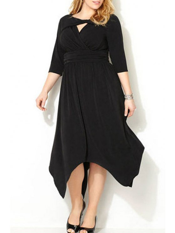 outfits Hollow Out Splicing Ruffle Half Sleeve Dress - BLACK ONE SIZE(FIT SIZE XS TO M)
