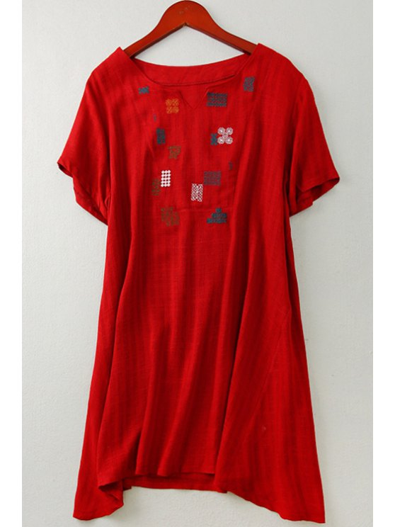 womens Embroidered Linen Straight Dress - RED ONE SIZE(FIT SIZE XS TO M)