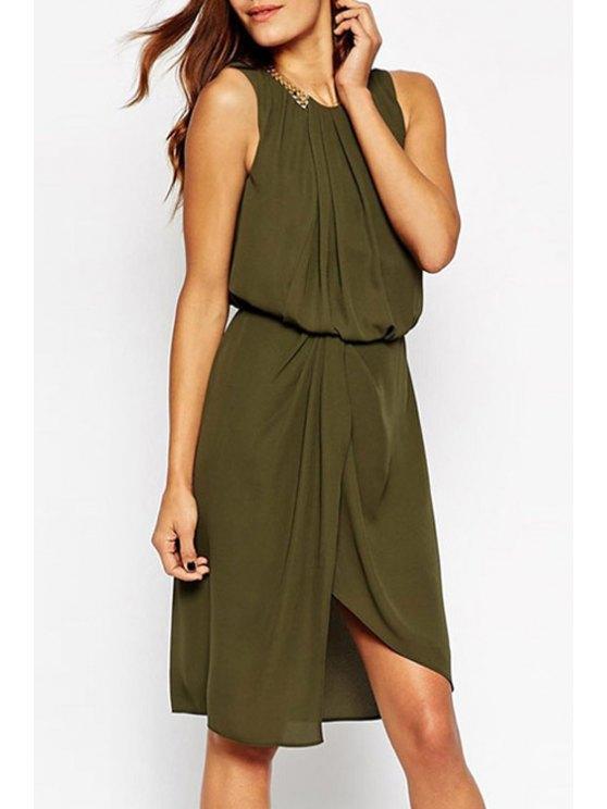 shop Jewel Neck Ruffle Slit Sleeveless Dress - ARMY GREEN ONE SIZE(FIT SIZE XS TO M)