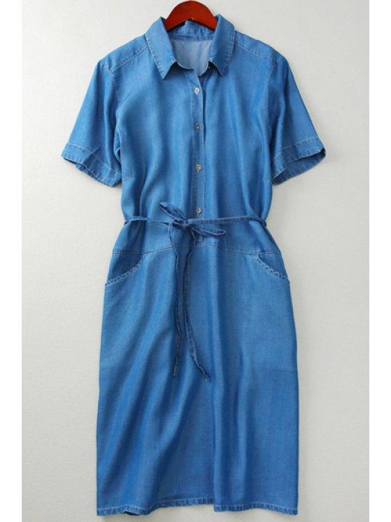 ladies Shirt Collar Button Pocket Chambray Dress - DEEP BLUE S