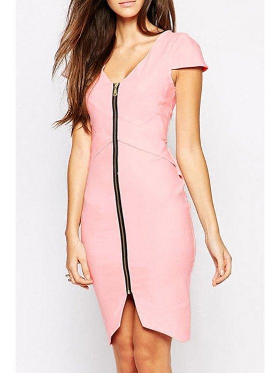 shops V-Neck Zipper Fly Asymmetrical Short Sleeve Dress - PINK M