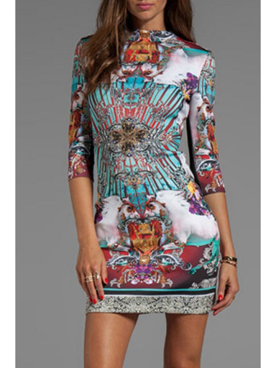 shop Round Neck Colorful Abstract Print Dress - COLORMIX M