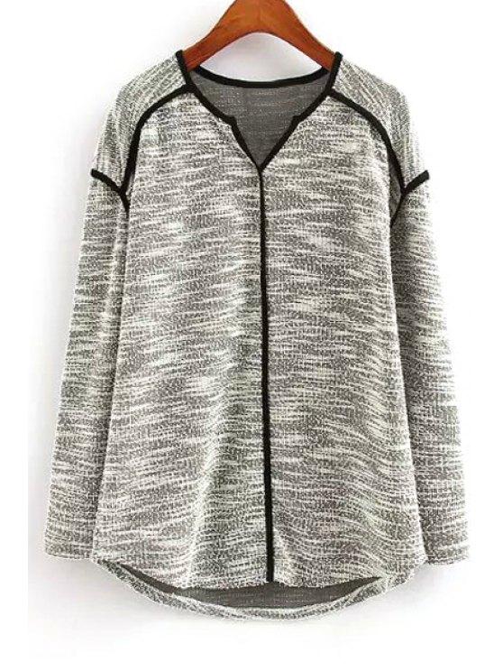 Blusa de color cuello en V de manga larga de punto - Gris M