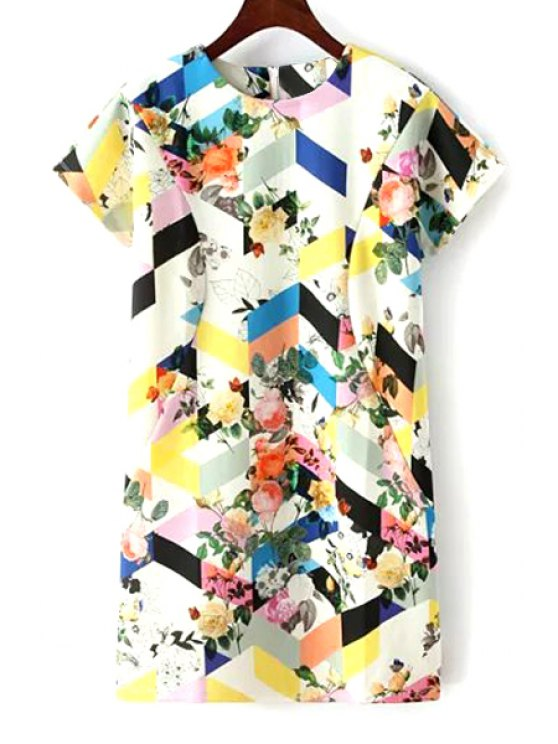 womens Colored Print Short Sleeve Dress - COLORMIX ONE SIZE(FIT SIZE XS TO M)