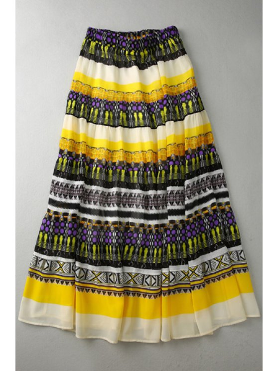 shops Ethnic Pattern Layered Long Chiffon Skirt - COLORMIX S