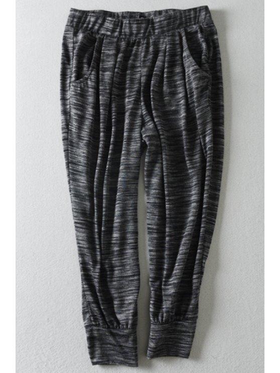 outfits Elastic Waist Loose-Fitting Capri Pants - GRAY S