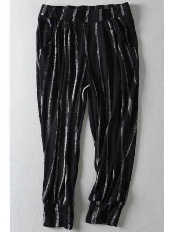 latest Striped Pocket Loose-Fitting Capri Pants - BLACK S
