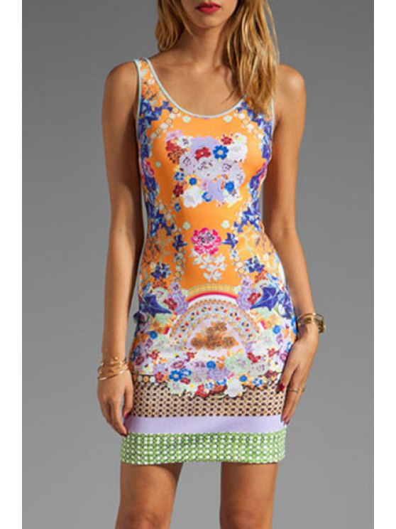 best Scoop Neck Colorful Floral Printed Dress - COLORMIX M