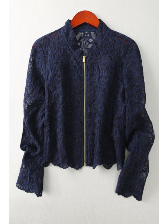 sale Openwork Lace Hook Sunscreen Coat - DEEP BLUE S
