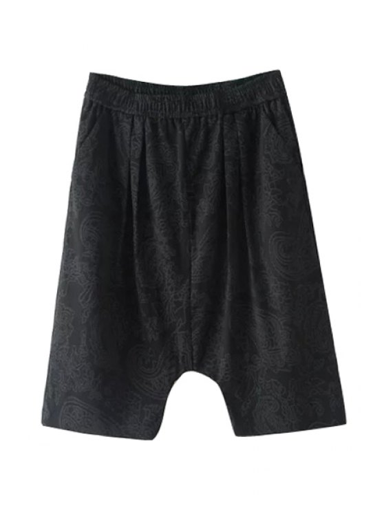 fancy Elastic Waist Print Harem Pants - BLACK ONE SIZE(FIT SIZE XS TO M)