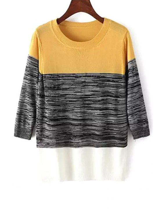 shops Color Block 3/4 Sleeve Pullover Sweater - YELLOW ONE SIZE(FIT SIZE XS TO M)
