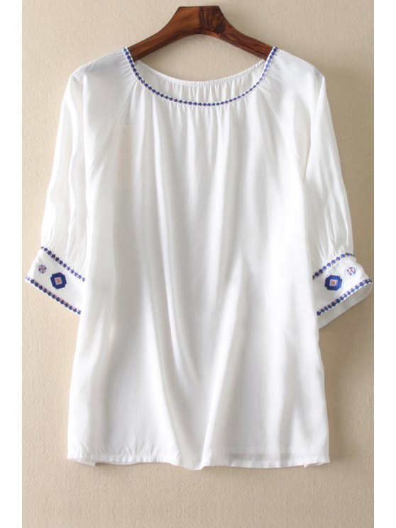 best Color Block Embroidered White Blouse - WHITE ONE SIZE(FIT SIZE XS TO M)