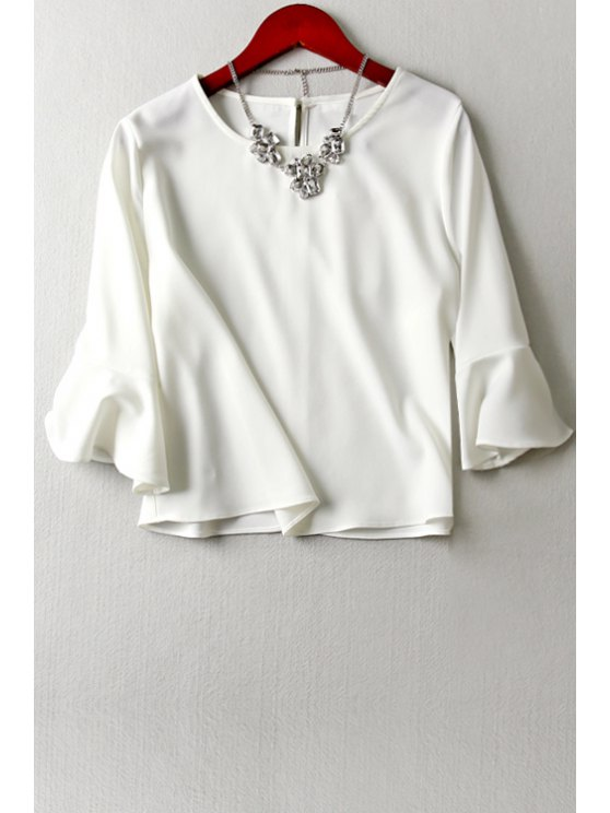 affordable Flouncing Sleeve Keyhole White T-Shirt - WHITE S