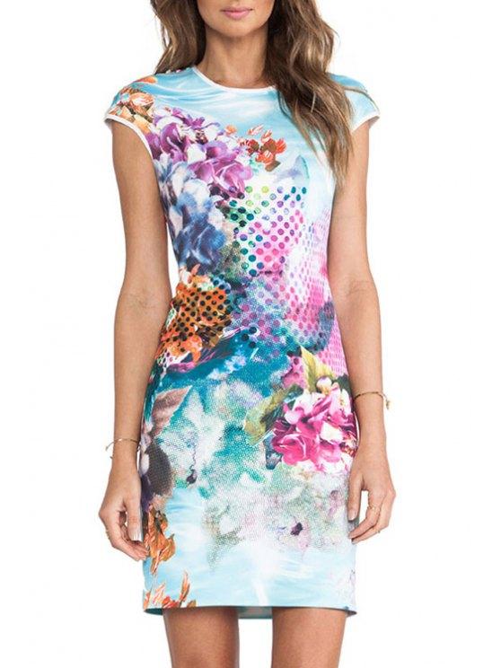 outfit Jewel Neck Polka Dot Floral Print Dress - COLORMIX M