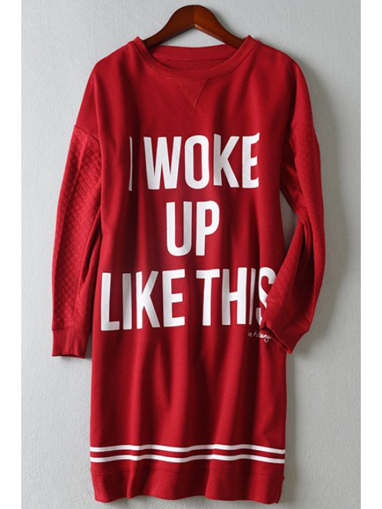 women's Letter Pattern Loose-Fitting Long T-Shirt - RED XS