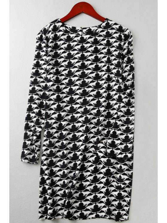 chic Long Sleeve Full Animal Print Straight Dress - WHITE AND BLACK XL