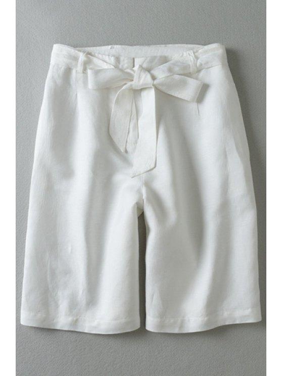 women's Tie-Up Wide Leg White Fifth Pants - WHITE L