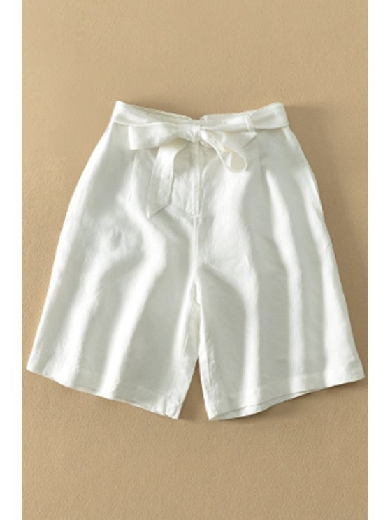 lady Bowknot Embellished White Fifth Pants - WHITE XS
