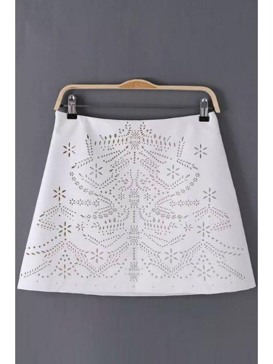 buy Floral Pattern Openwork Zipper Fly Skirt - WHITE S