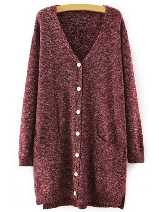 buy V Neck Single-Breasted Pocket Cardigan - WINE RED ONE SIZE(FIT SIZE XS TO M)