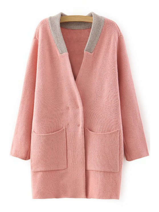 women V Neck Color Block Pocket Long Sleeve Cardigan - PINK ONE SIZE(FIT SIZE XS TO M)