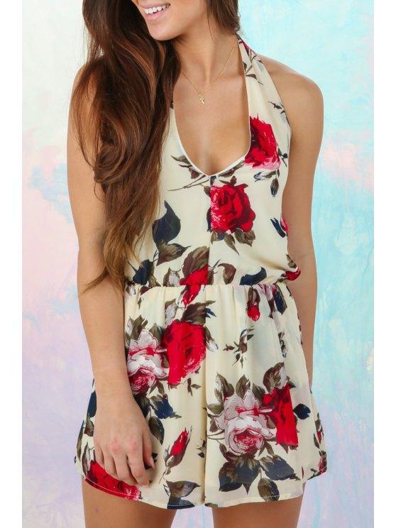 chic Floral Print Backless Pocket Romper - WHITE S