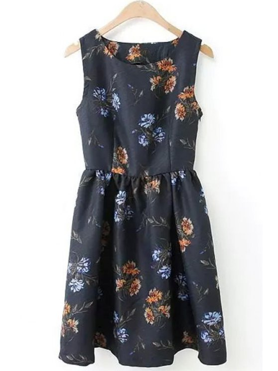 shops Backless Tiny Floral Print Sleeveless Dress - BLACK S