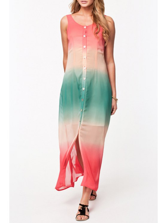 shops Ombre Color Scoop Collar Maxi Sundress - AS THE PICTURE XS