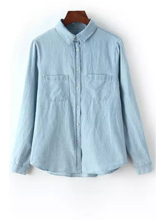 sale Pocket Bleach Wash Long Sleeve Shirt - LIGHT BLUE S