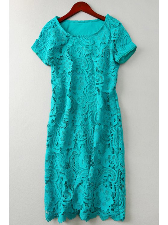 shops Solid Color Openwork Lace Hook Midi Dress - GREEN ONE SIZE(FIT SIZE XS TO M)