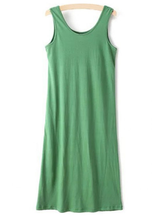 ladies Scoop Neck Solid Color Sleeveless Dress - GREEN ONE SIZE(FIT SIZE XS TO M)