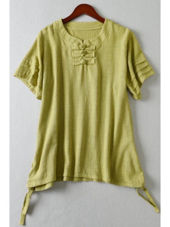 fancy Pure Color Loose-Fitting T-Shirt - GRASS GREEN M