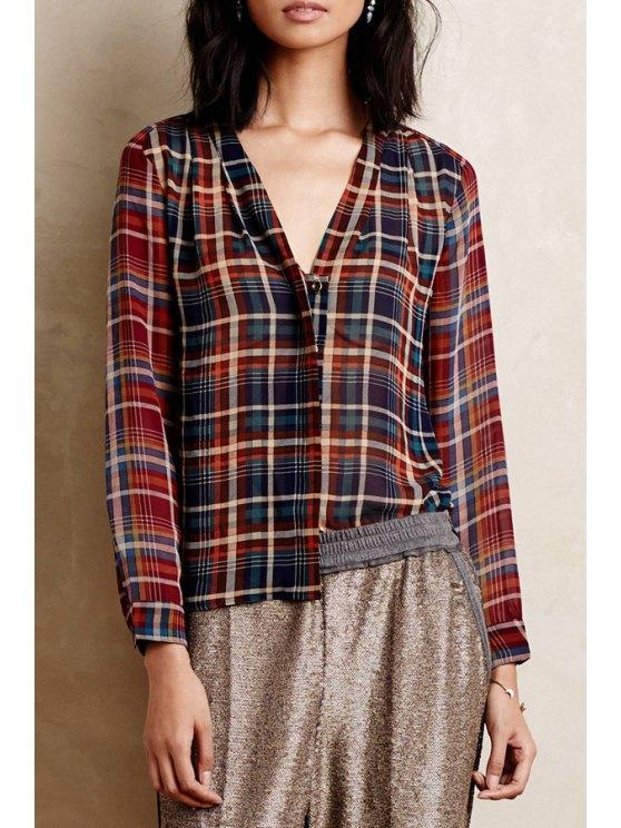 lady Plaid Print V Neck Long Sleeve Shirt - COLORMIX XS