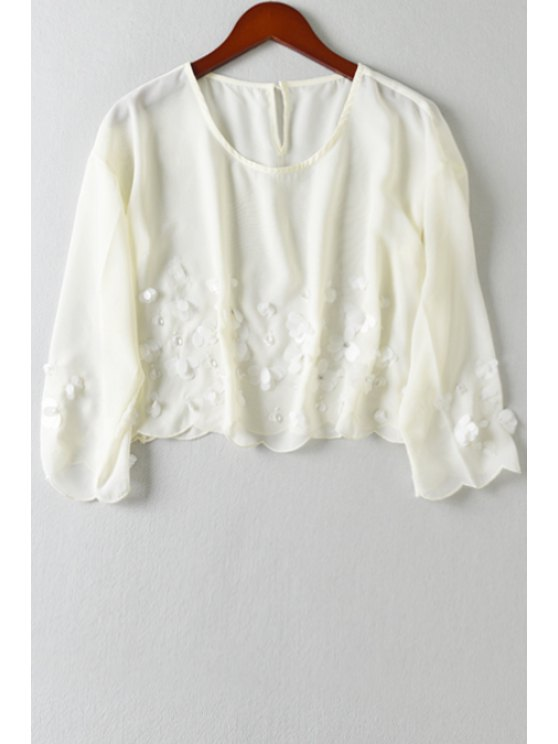 women Solid Color Sequined Chiffon Crop Top - OFF-WHITE ONE SIZE(FIT SIZE XS TO M)