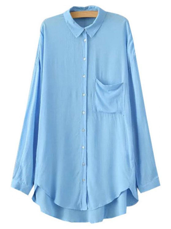 online Polo Collar High Low Pocket Shirt - BLUE XS