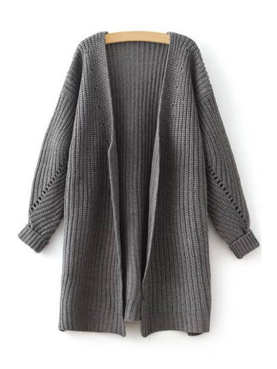 women's Side Slit Openwork Long Sleeve Cardigan - GRAY ONE SIZE(FIT SIZE XS TO M)