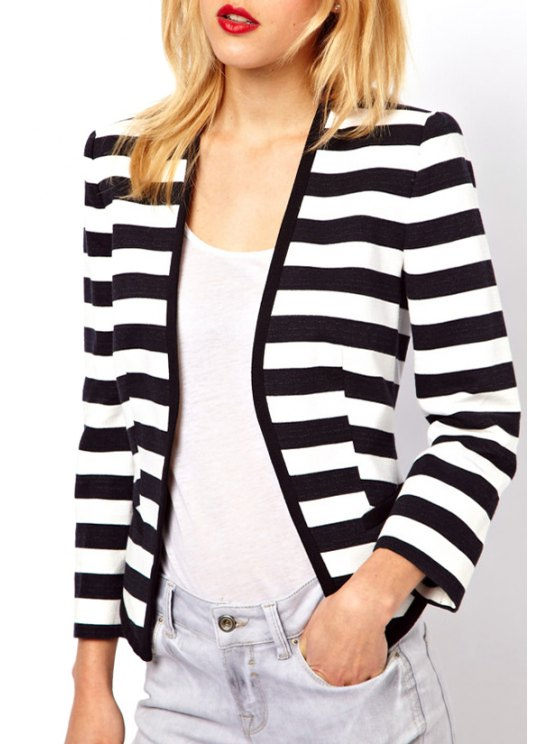 latest Striped Collarless Long Sleeve Coat - WHITE AND BLACK XS