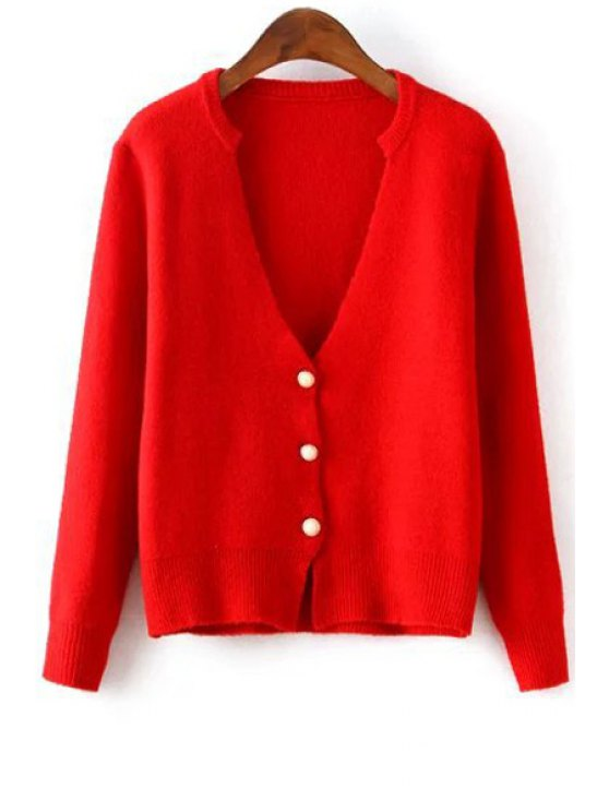 fancy Deep V Neck Solid Color Button Fly Cardigan - RED ONE SIZE(FIT SIZE XS TO M)