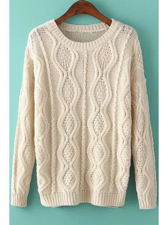 Argyle patrón de corte lateral manga larga suéter - Blancuzco Un tamaño(Montar tam