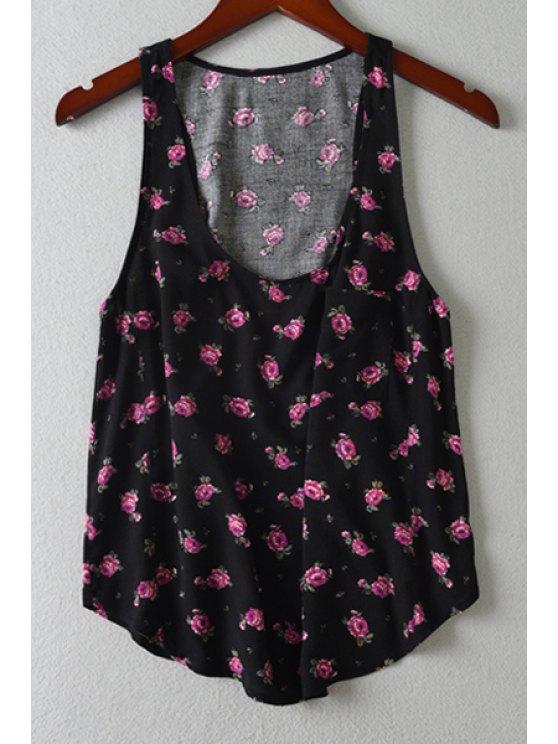 hot Tiny Floral Print Scoop Neck Tank Top - BLACK S